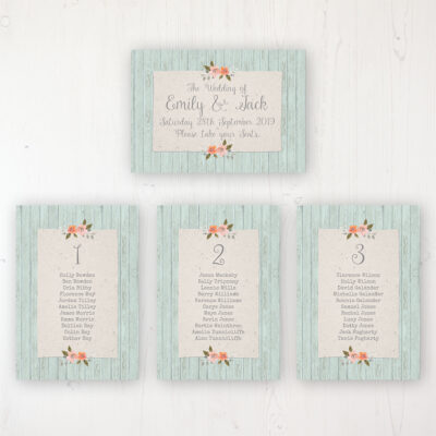 Prairie Peach Wedding Table Plan Cards Personalised with Table Names and Guest Names