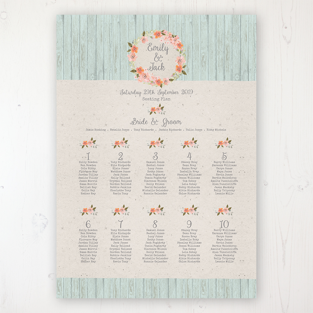 Prairie Peach Wedding Table Plan Poster Personalised with Table and Guest Names