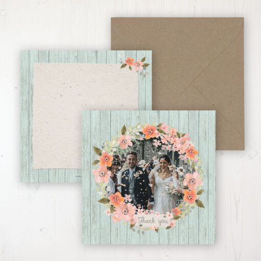 Prairie Peach Wedding with a photo and with space to write own message