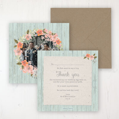 Prairie Peach Wedding Thank You Card - Flat Personalised with a Message & Photo