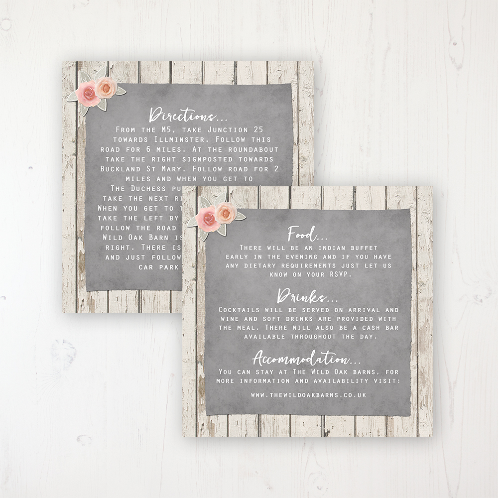 Rose Cottage Wedding Info Insert Card Personalised Front & Back