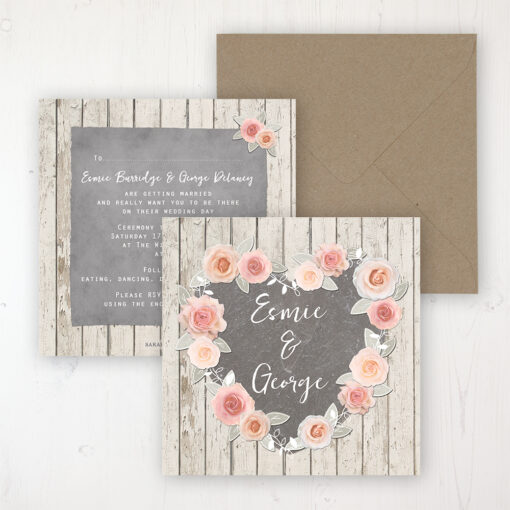 Rose Cottage Wedding Invitation - Flat Personalised Front & Back with Rustic Envelope