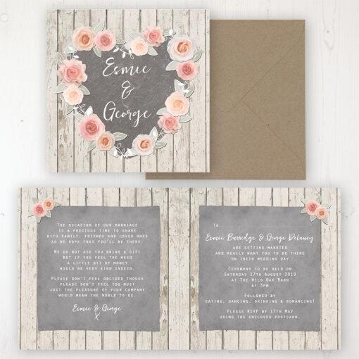 Rose Cottage Wedding Invitation - Folded Personalised Front & Back with Rustic Envelope
