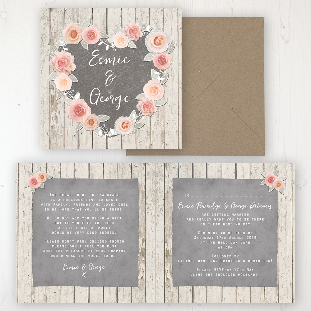 Rose Cottage Wedding Invitation - Folded Personalised Front & Back with Rustic Envelope