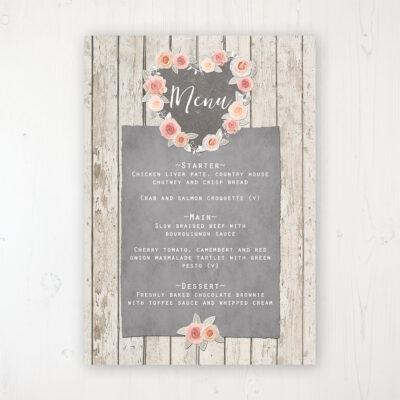Rose Cottage Wedding Menu Card Personalised to display on tables