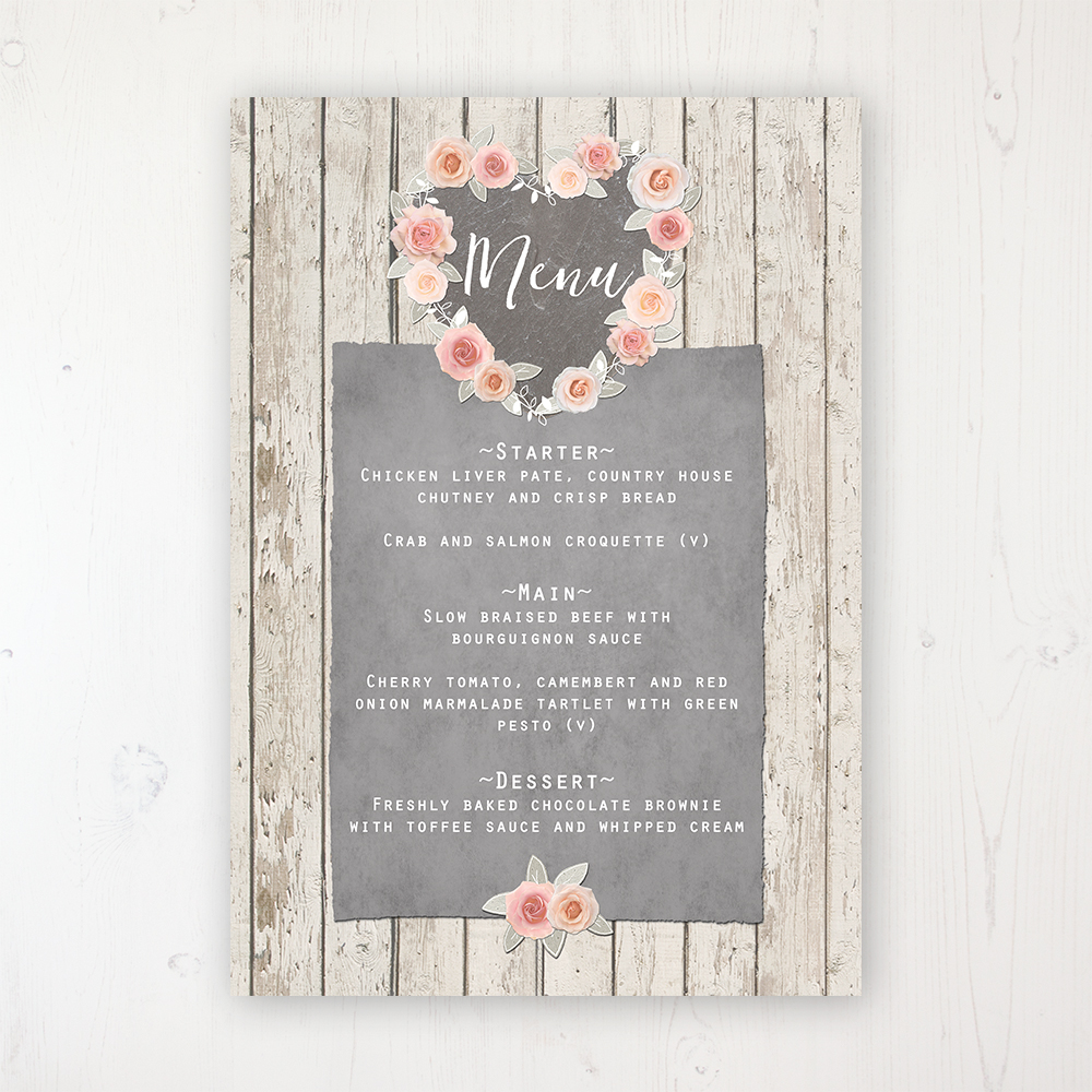 Rose Cottage Wedding Menu Card Personalised to display on tables
