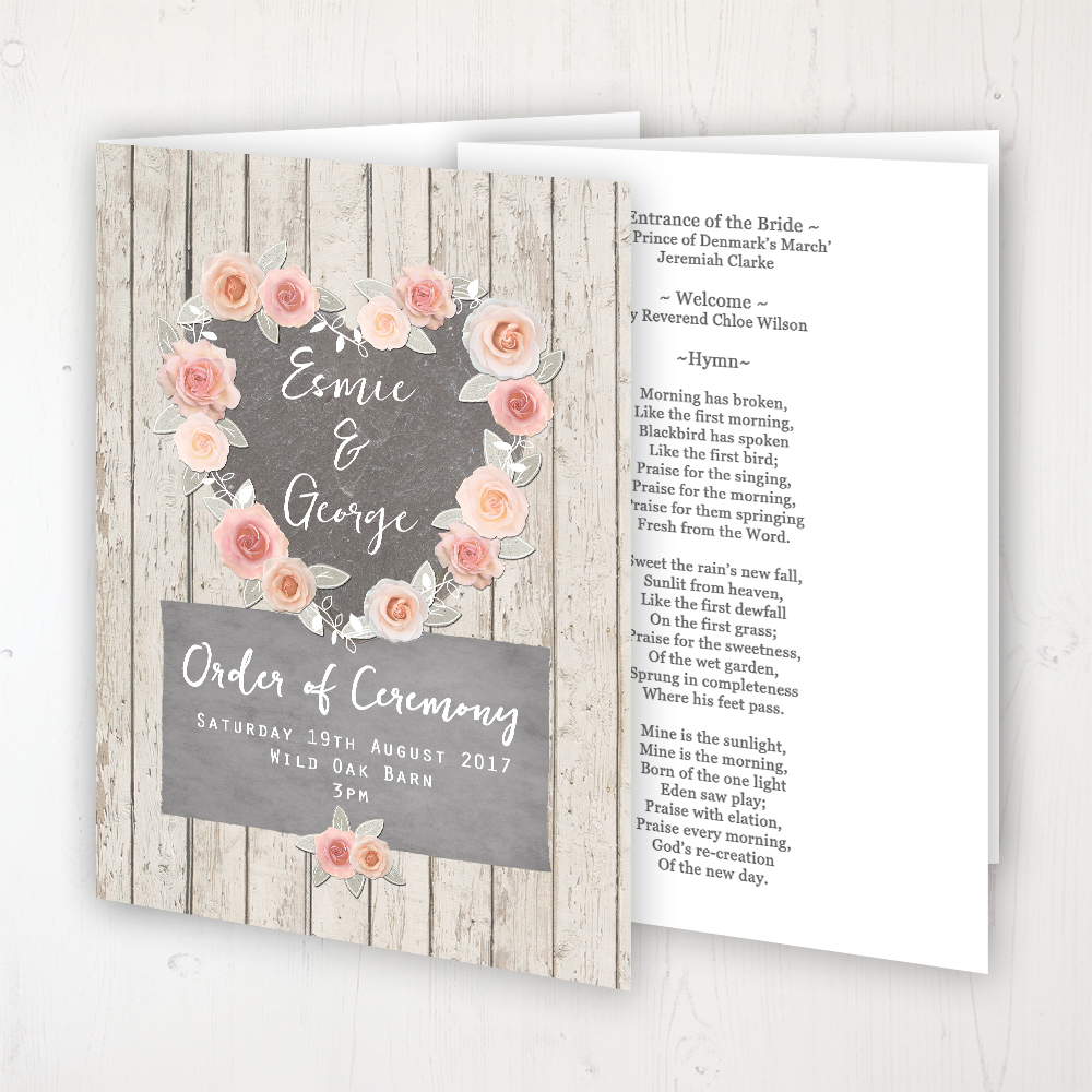 Rose Cottage Wedding Order of Service - Booklet Personalised Front & Inside Pages