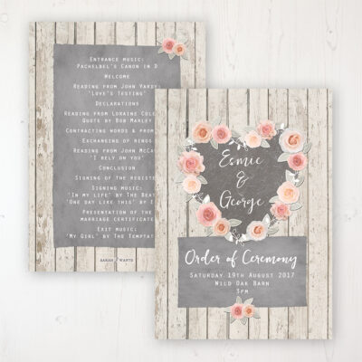 Rose Cottage Wedding Order of Service - Card Personalised front and back