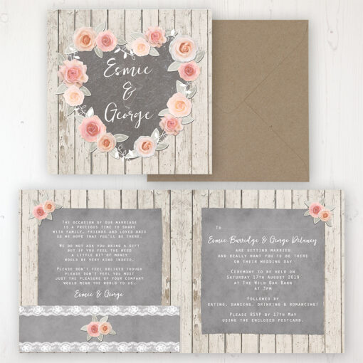 Rose Cottage Wedding Invitation - Folded Personalised Front & Back with Pocket in inside cover. Includes Rustic Envelope