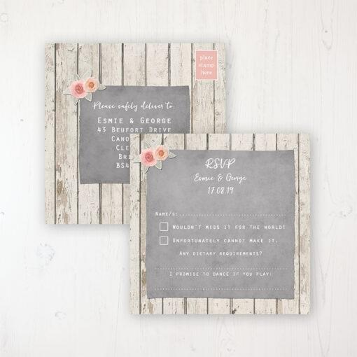 Rose Cottage Wedding RSVP Postcard Personalised Front & Back