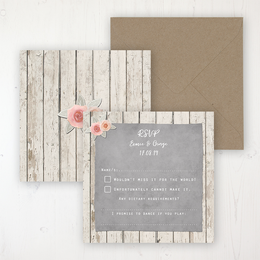 Rose Cottage Wedding RSVP Personalised Front & Back with Rustic Envelope