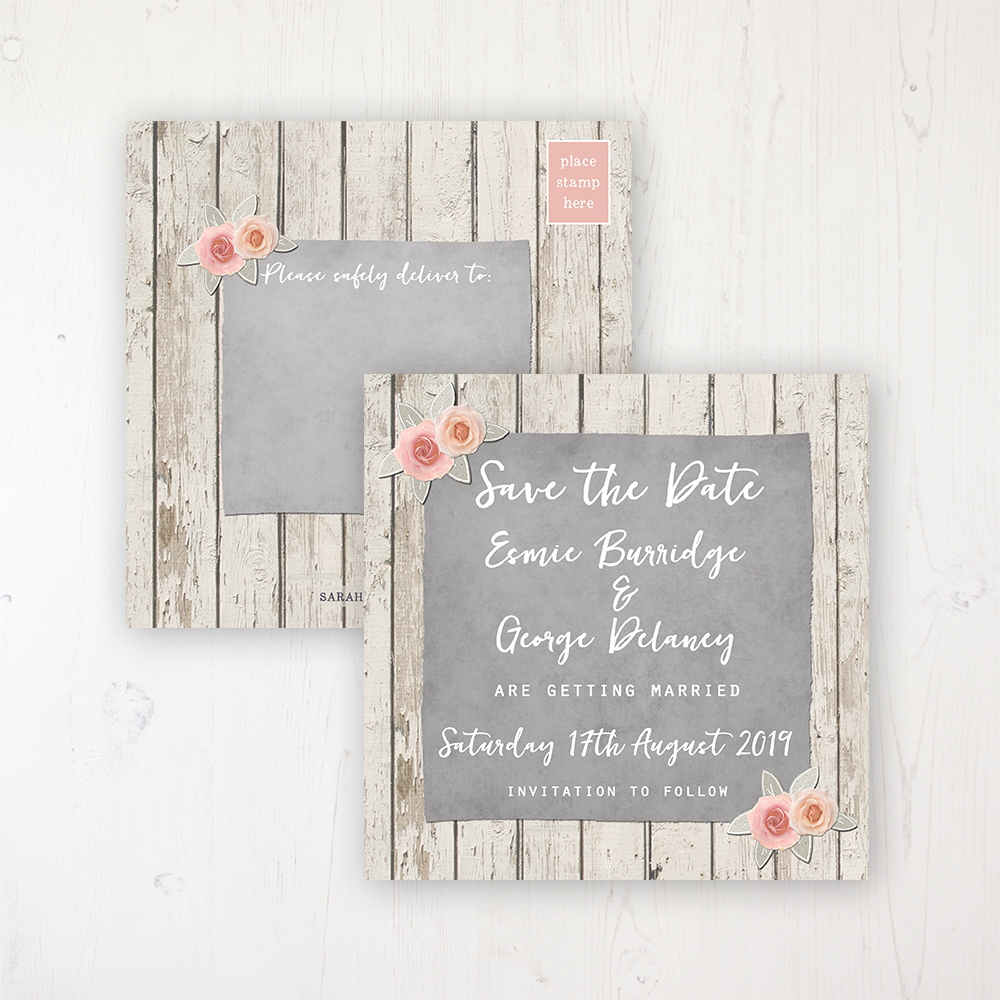 Rose Cottage Wedding Save the Date Postcard Personalised Front & Back