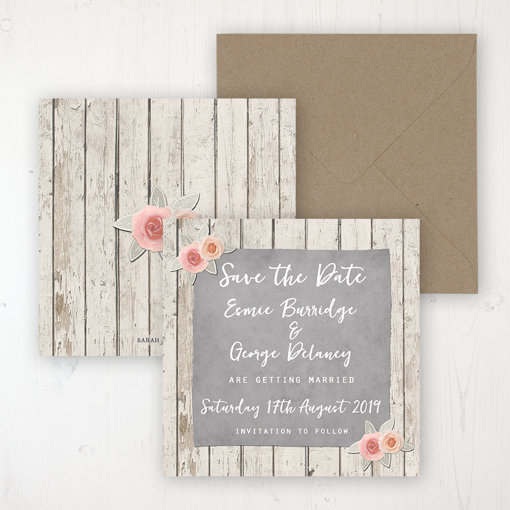 Rose Cottage Wedding Save the Date Personalised Front & Back with Rustic Envelope