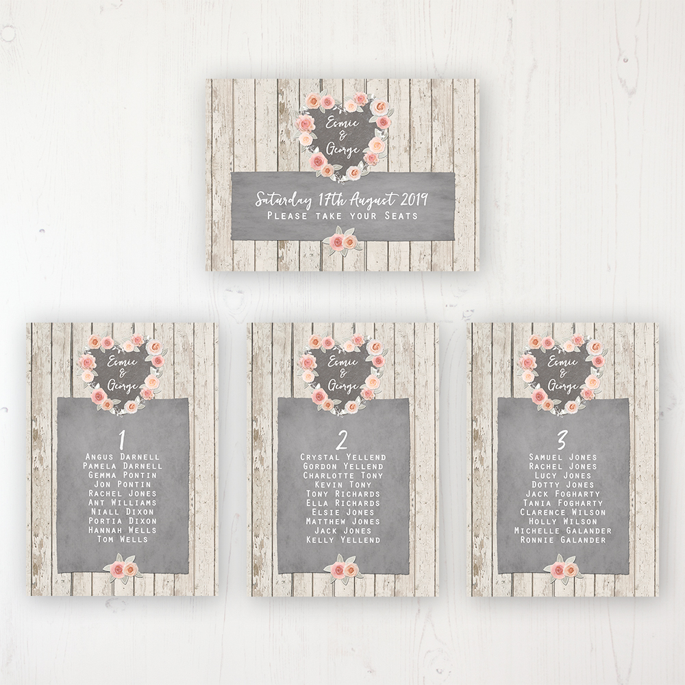 Rose Cottage Wedding Table Plan Cards Personalised with Table Names and Guest Names