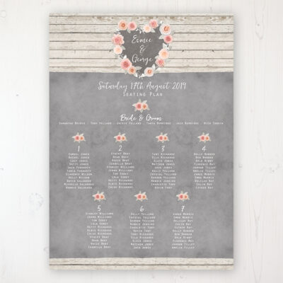 Rose Cottage Wedding Table Plan Poster Personalised with Table and Guest Names