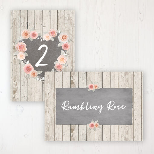 Rose Cottage Wedding Table Name & Number Personalised Table Name Card and Number Card
