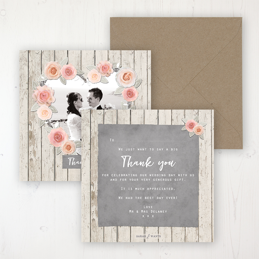 Rose Cottage Wedding Thank You Card - Flat Personalised with a Message & Photo