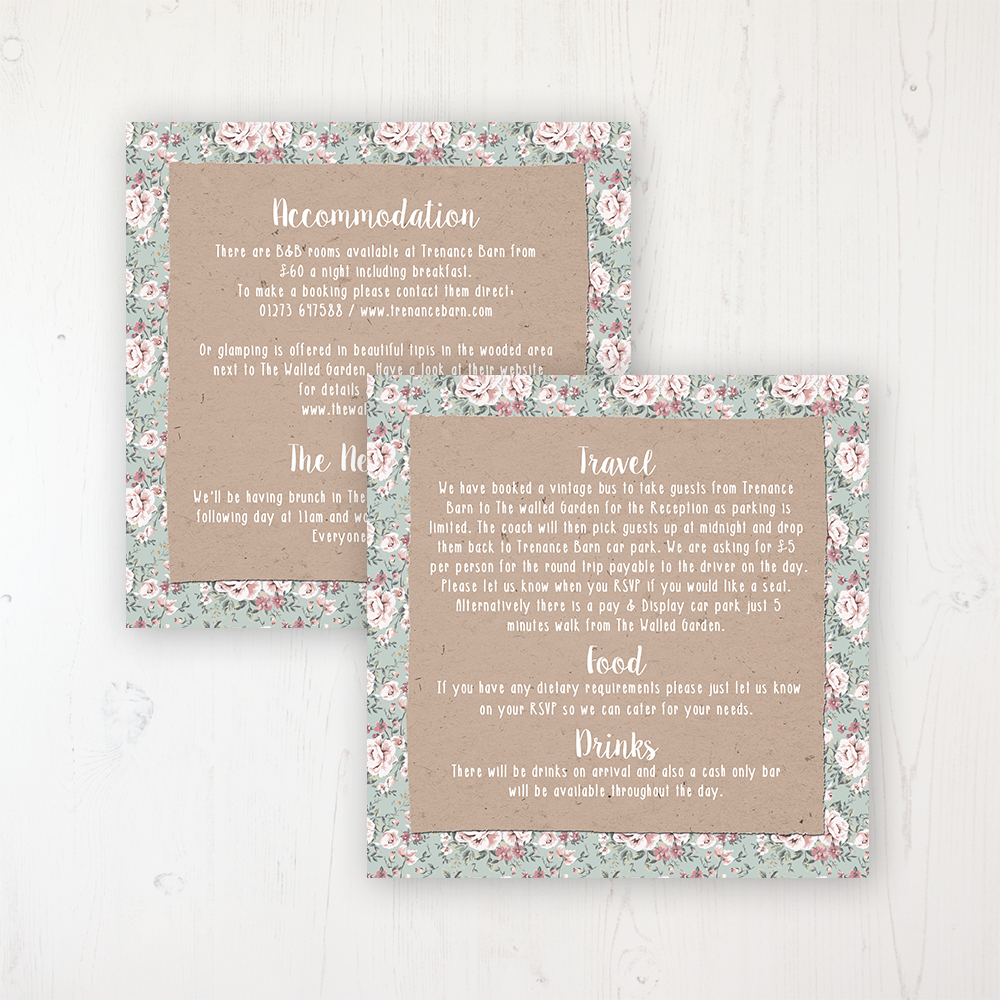 Rustic Barn Wedding Info Insert Card Personalised Front & Back