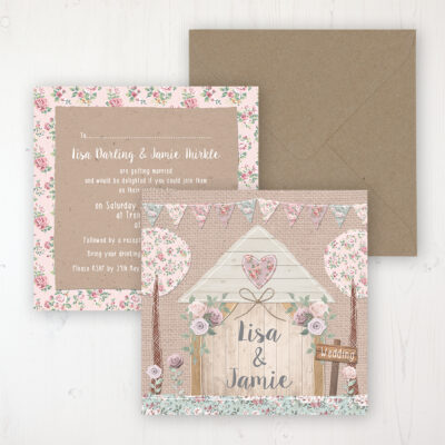Rustic Barn Wedding Invitation - Flat Personalised Front & Back with Rustic Envelope