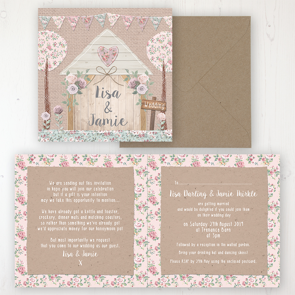 Rustic Barn Wedding Invitation - Folded Personalised Front & Back with Rustic Envelope