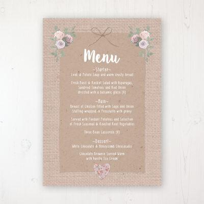 Rustic Barn Wedding Menu Card Personalised to display on tables