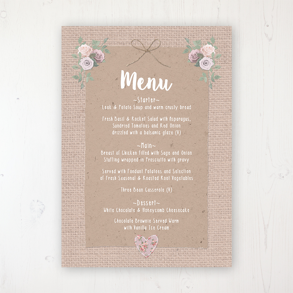 Rustic Barn Wedding Menu Card Personalised to display on tables