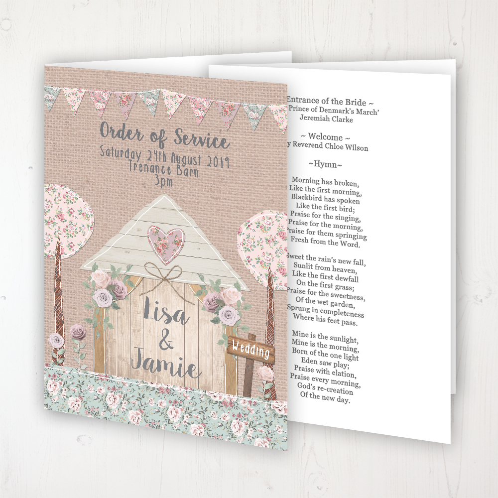 Rustic Barn Wedding Order of Service - Booklet Personalised Front & Inside Pages