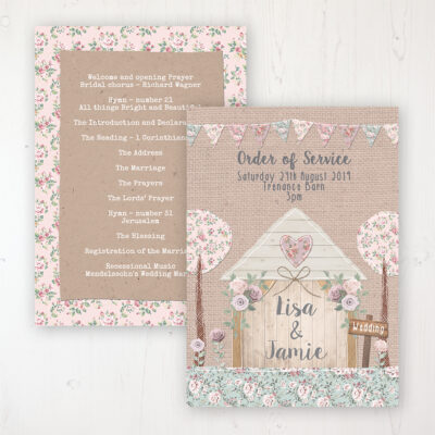 Rustic Barn Wedding Order of Service - Card Personalised front and back