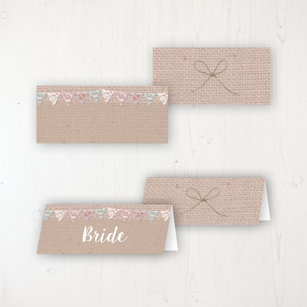 Rustic Barn Wedding Place Name Cards Blank and Personalised with Flat or Folded Option