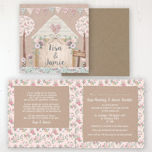Rustic Barn Wedding Invitation - Folded Personalised Front & Back with Pocket in inside cover. Includes Rustic Envelope