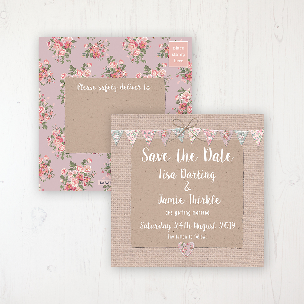 Rustic Barn Wedding Save the Date Postcard Personalised Front & Back