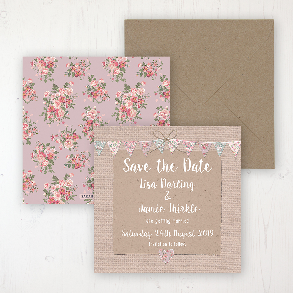 Rustic Barn Wedding Save the Date Personalised Front & Back with Rustic Envelope