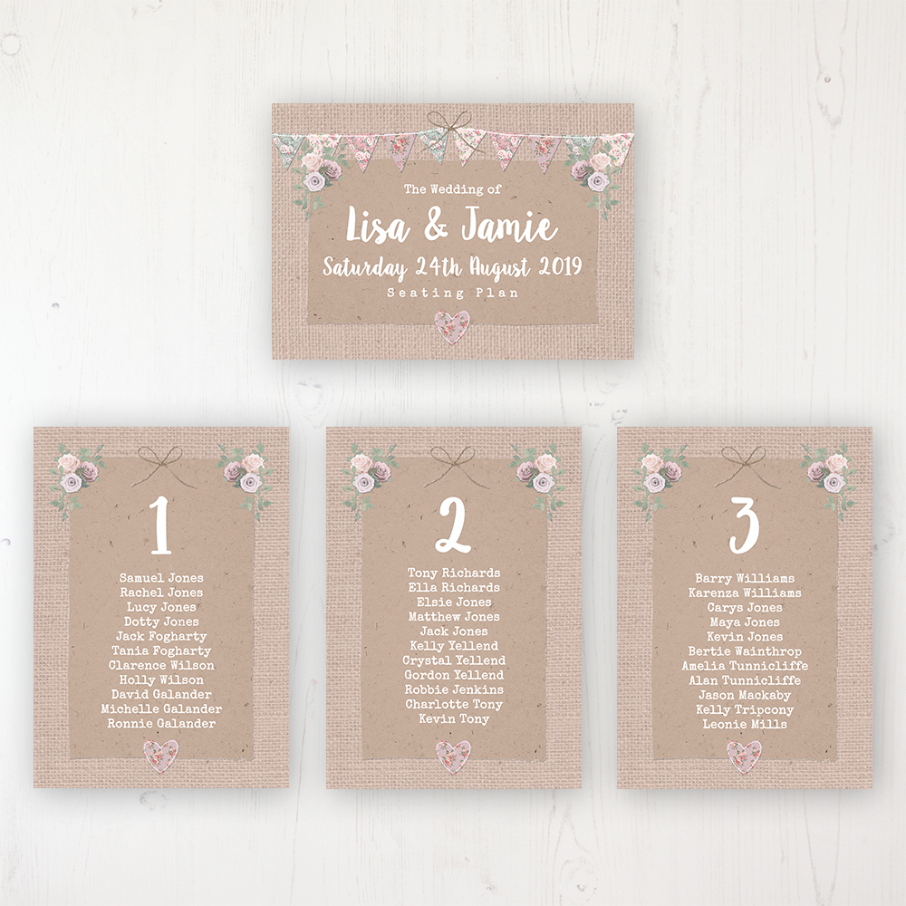 Rustic Barn Wedding Table Plan Cards Personalised with Table Names and Guest Names