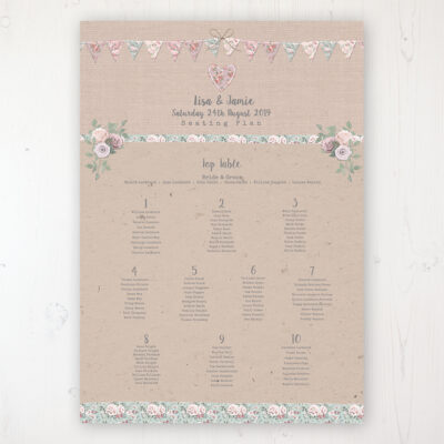 Rustic Barn Wedding Table Plan Poster Personalised with Table and Guest Names