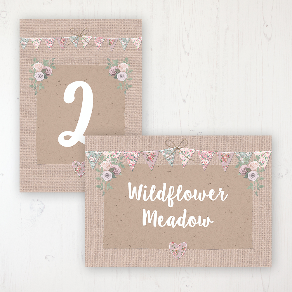 Rustic Barn Wedding Table Name & Number Personalised Table Name Card and Number Card