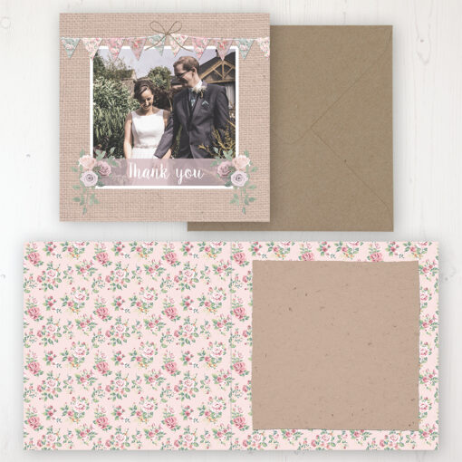 Rustic Barn Wedding Thank You Card - Folded Personalised with a Message & Photo