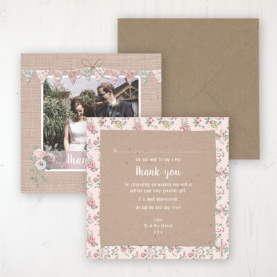Rustic Barn Wedding Thank You Card - Flat Personalised with a Message & Photo