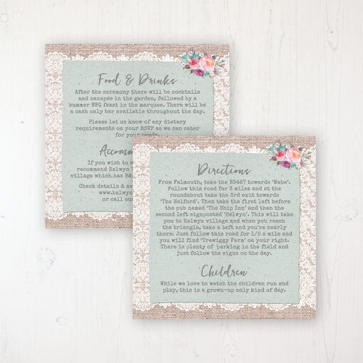 Rustic Farmhouse Wedding Info Insert Card Personalised Front & Back