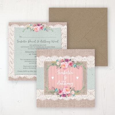 Rustic Farmhouse Wedding Invitation - Flat Personalised Front & Back with Rustic Envelope