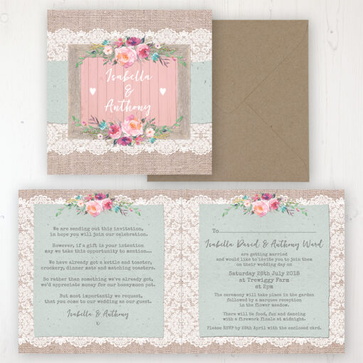 Rustic Farmhouse Wedding Invitation - Folded Personalised Front & Back with Rustic Envelope