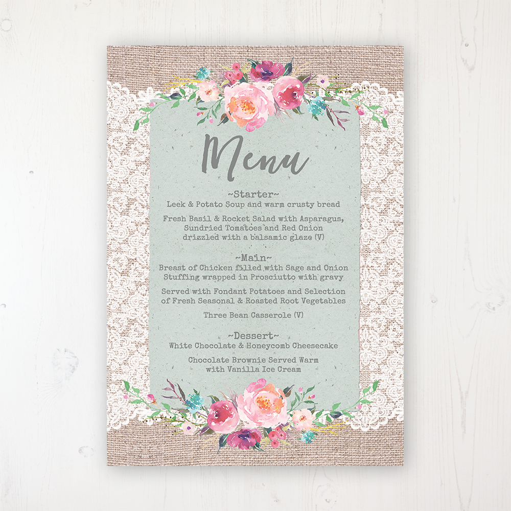 Rustic Farmhouse Wedding Menu Card Personalised to display on tables