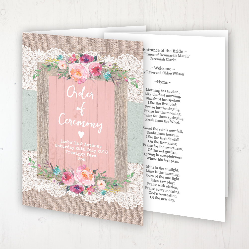 Rustic Farmhouse Wedding Order of Service - Booklet Personalised Front & Inside Pages