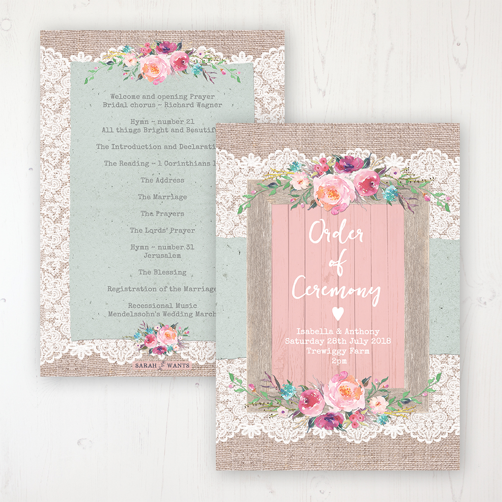 Rustic Farmhouse Wedding Order of Service - Card Personalised front and back