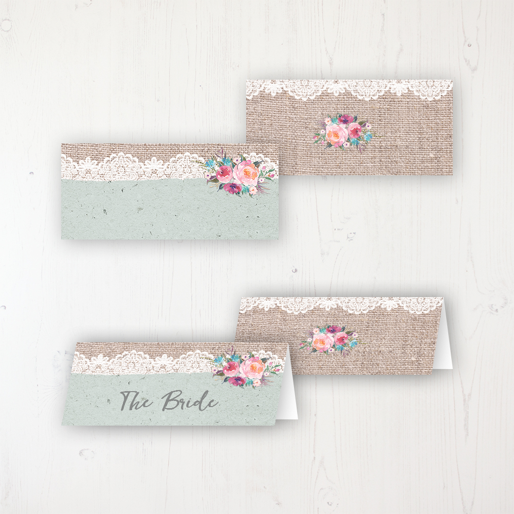 Rustic Farmhouse Wedding Place Name Cards Blank and Personalised with Flat or Folded Option