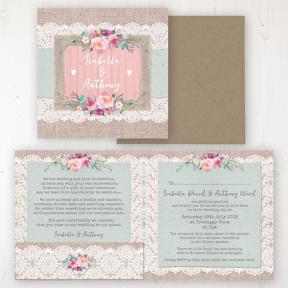 Rustic Farmhouse Wedding Invitation - Folded Personalised Front & Back with Pocket in inside cover. Includes Rustic Envelope