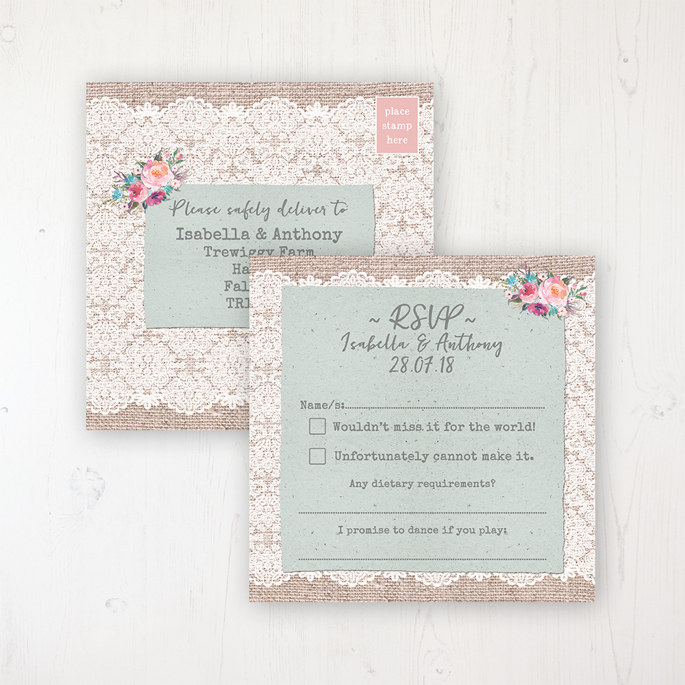 Rustic Farmhouse Wedding RSVP Postcard Personalised Front & Back