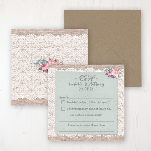 Rustic Farmhouse Wedding RSVP Personalised Front & Back with Rustic Envelope