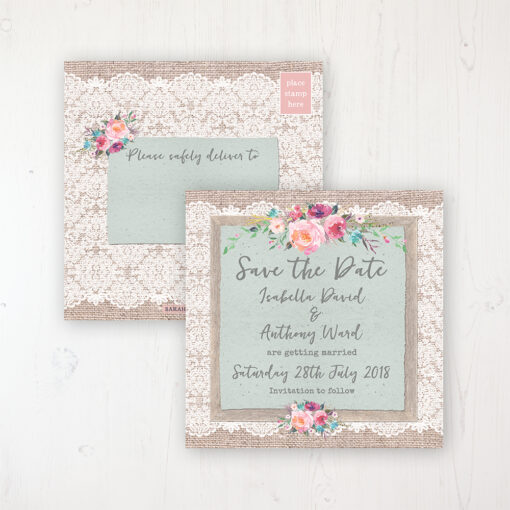 Rustic Farmhouse Wedding Save the Date Postcard Personalised Front & Back