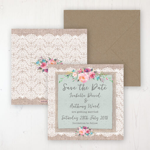 Rustic Farmhouse Wedding Save the Date Personalised Front & Back with Rustic Envelope