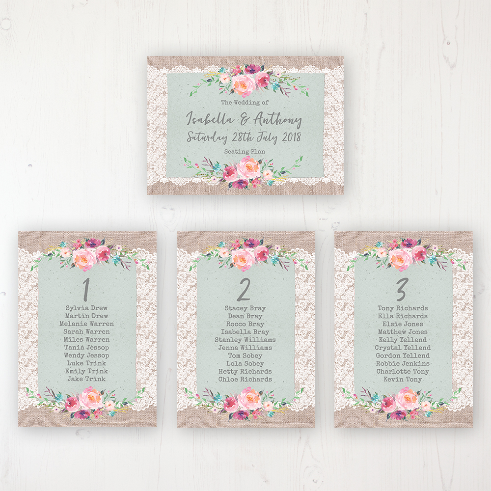 Rustic Farmhouse Wedding Table Plan Cards Personalised with Table Names and Guest Names
